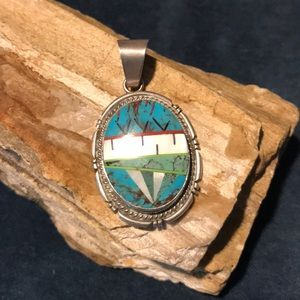 Jewelry - Zuni Stone Inlay Pendant in Sterling Silver